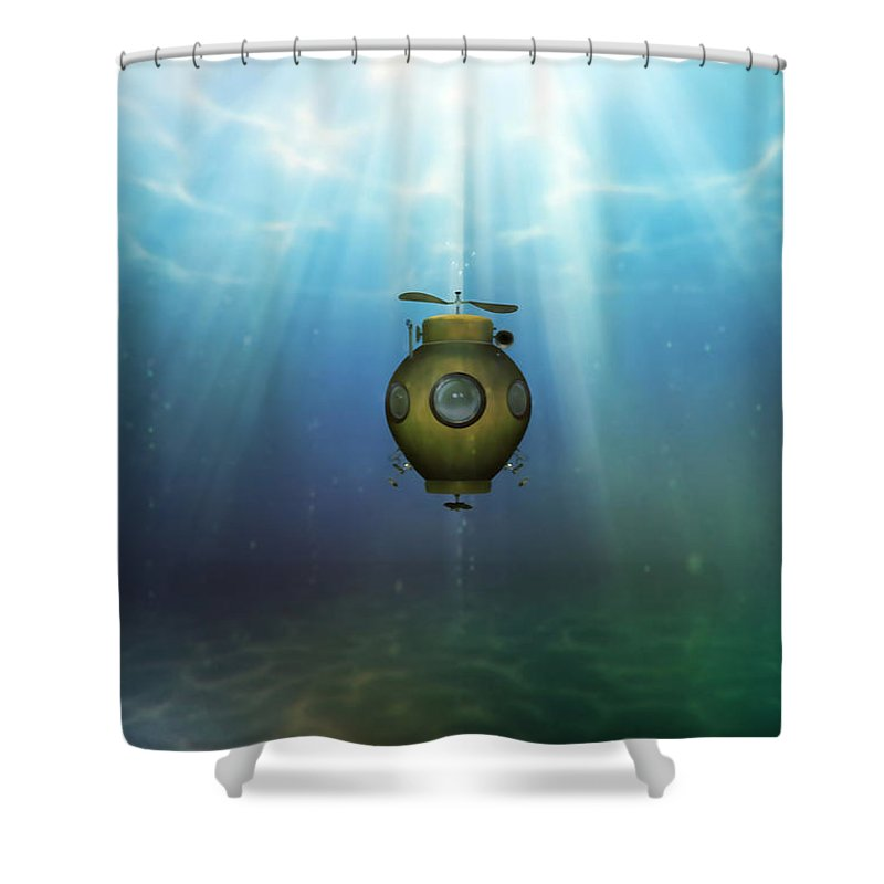 Steampunk Shower Curtain featuring the digital art Steampunk Submarine by Valerie Anne Kelly