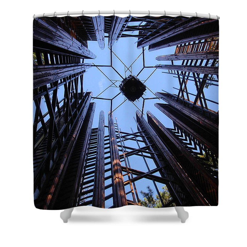 Steel Shower Curtain featuring the photograph Steel And Sky by Anne Cameron Cutri