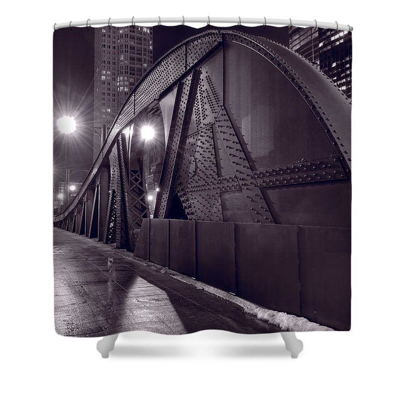 Bridge Shower Curtain featuring the photograph Steel Bridge Chicago Black And White by Steve Gadomski