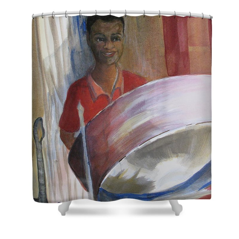 Bahamas Shower Curtain featuring the painting Steel Drums by Donna Steward