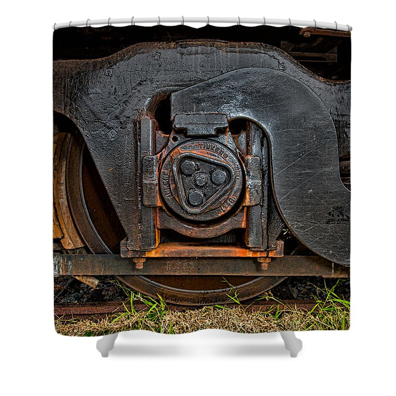 Train Shower Curtain featuring the photograph Steel Wheel Of Progess by Christopher Holmes