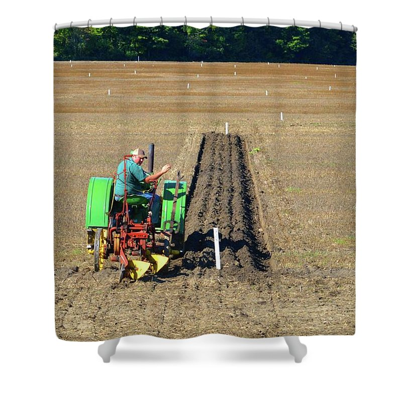 Farm Shower Curtain featuring the photograph Steel Wheels by Lyle Crump