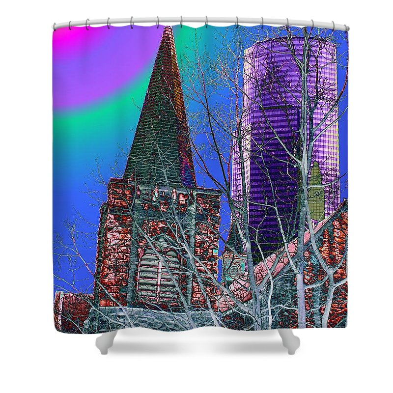 Seattle Shower Curtain featuring the digital art Steeple And Columbia by Tim Allen