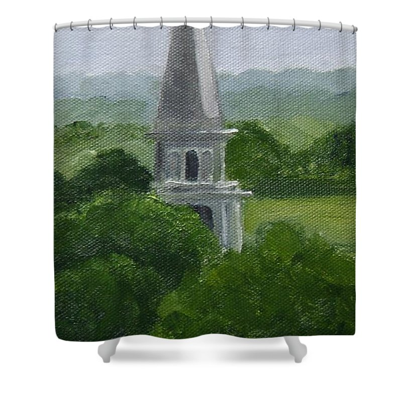 Steeple Shower Curtain featuring the painting Steeple by Toni Berry