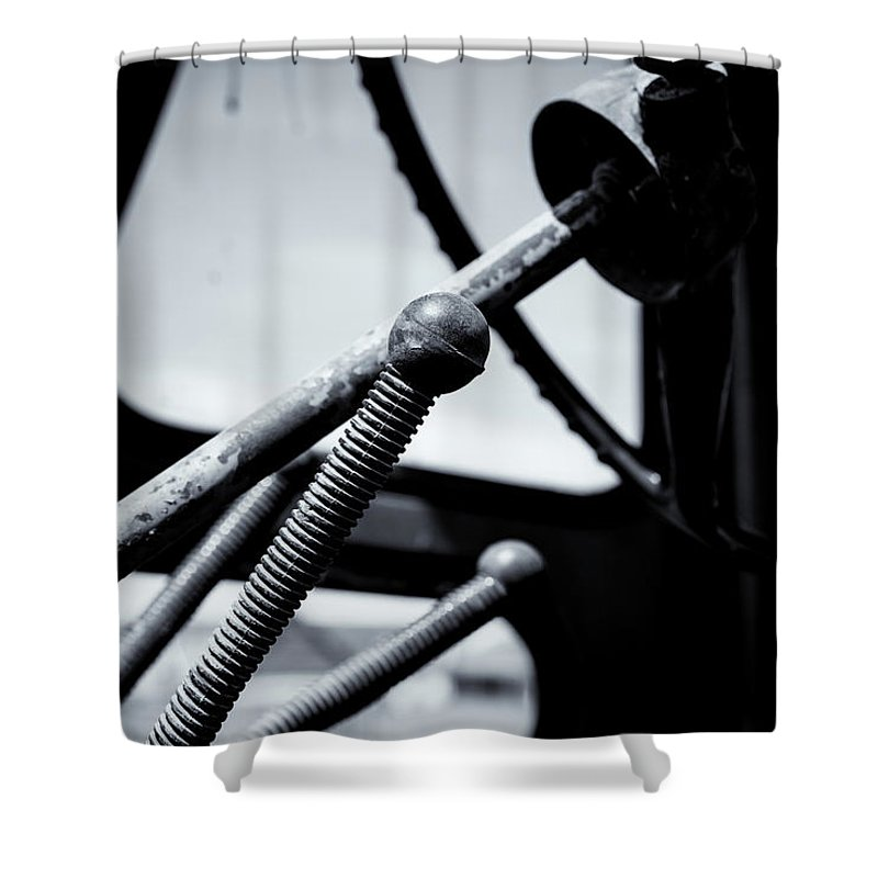 Steering Column Shower Curtain featuring the photograph Steering Column Of Direction by John Williams