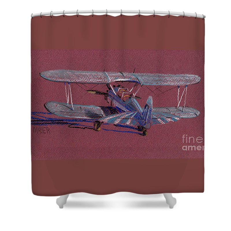 Steerman Biplane Shower Curtain featuring the drawing Steerman Biplane by Donald Maier