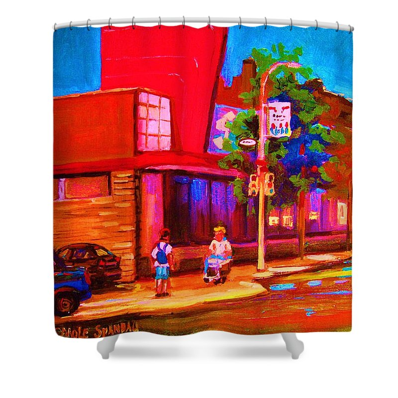 Steinbergs Shower Curtain featuring the painting Steinbergs Supermarket by Carole Spandau