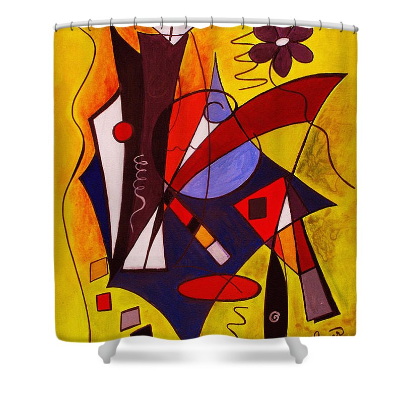 Abstract Shower Curtain featuring the painting Step Lively Now by Ruth Palmer