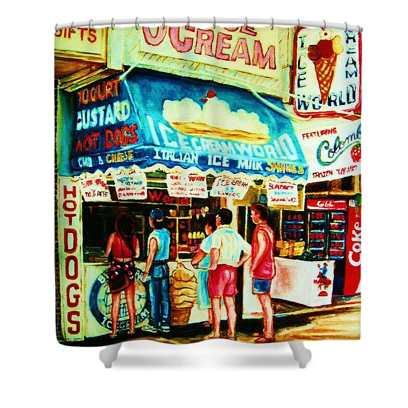 Children Shower Curtain featuring the painting Stephanies Icecream Stand by Carole Spandau