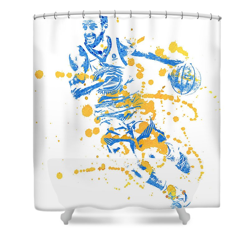 Stephen Curry Shower Curtain Featuring The Mixed Media Golden State Warriors Water Color Art