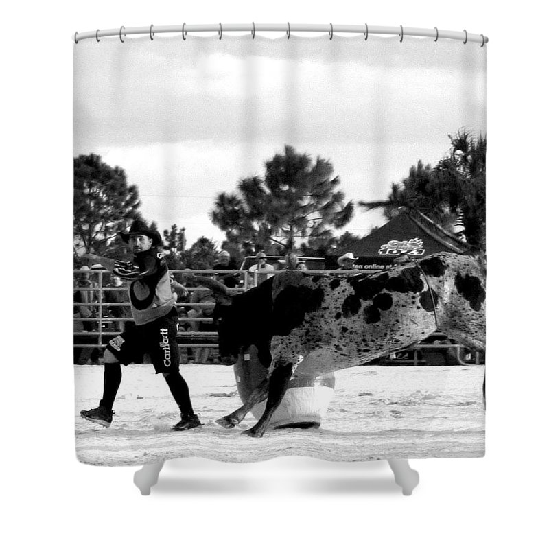Rodeo Shower Curtain featuring the photograph Steppin Away...... by Christi Willard