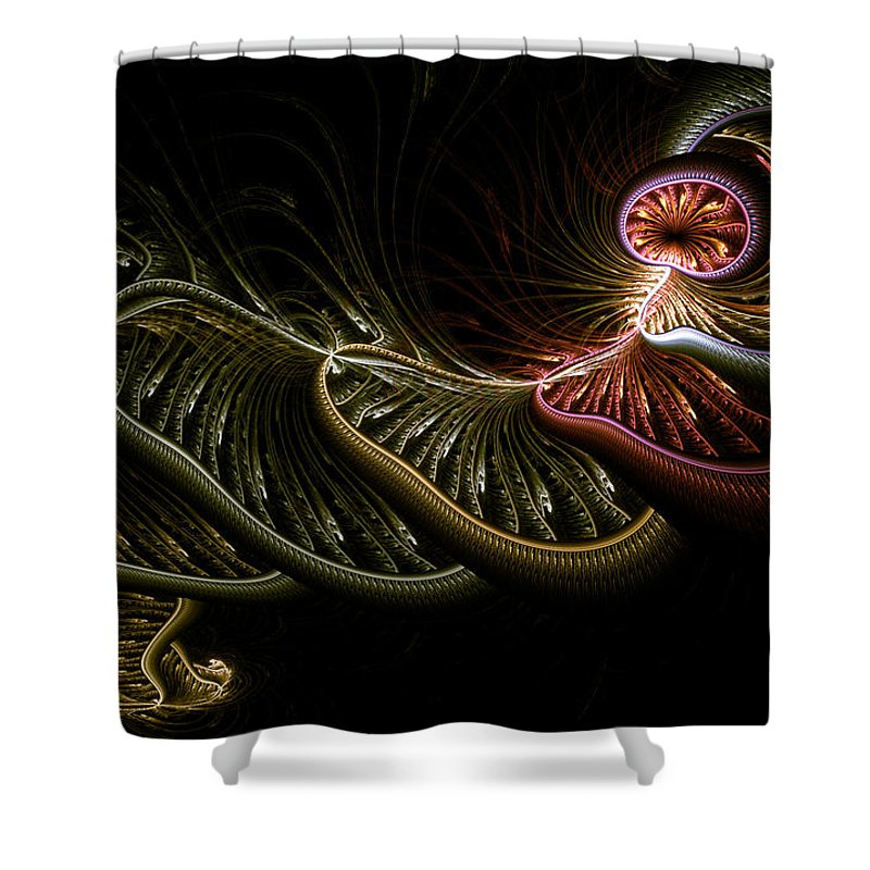 Abstract Shower Curtain featuring the digital art Stepping Through Time by Casey Kotas