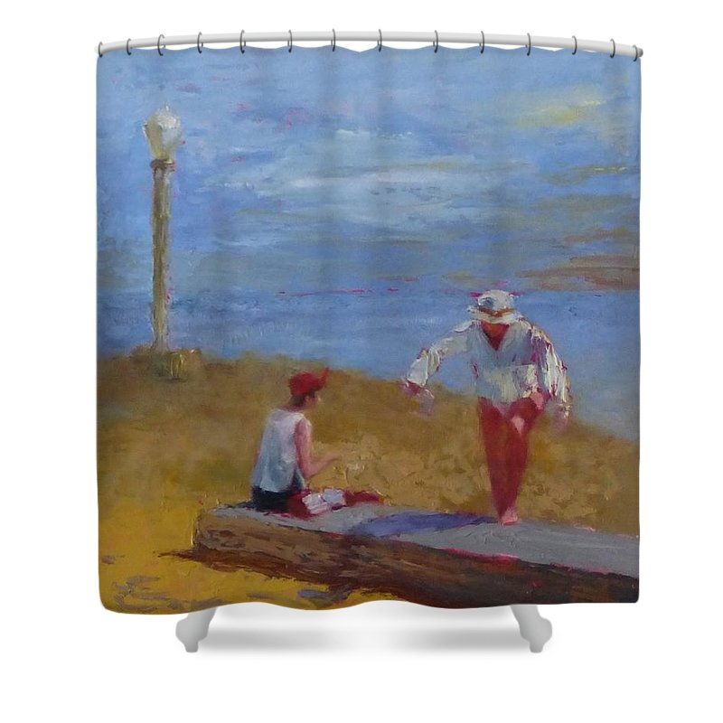 Sea Scape Shower Curtain featuring the painting Stepping Up by Irena Jablonski