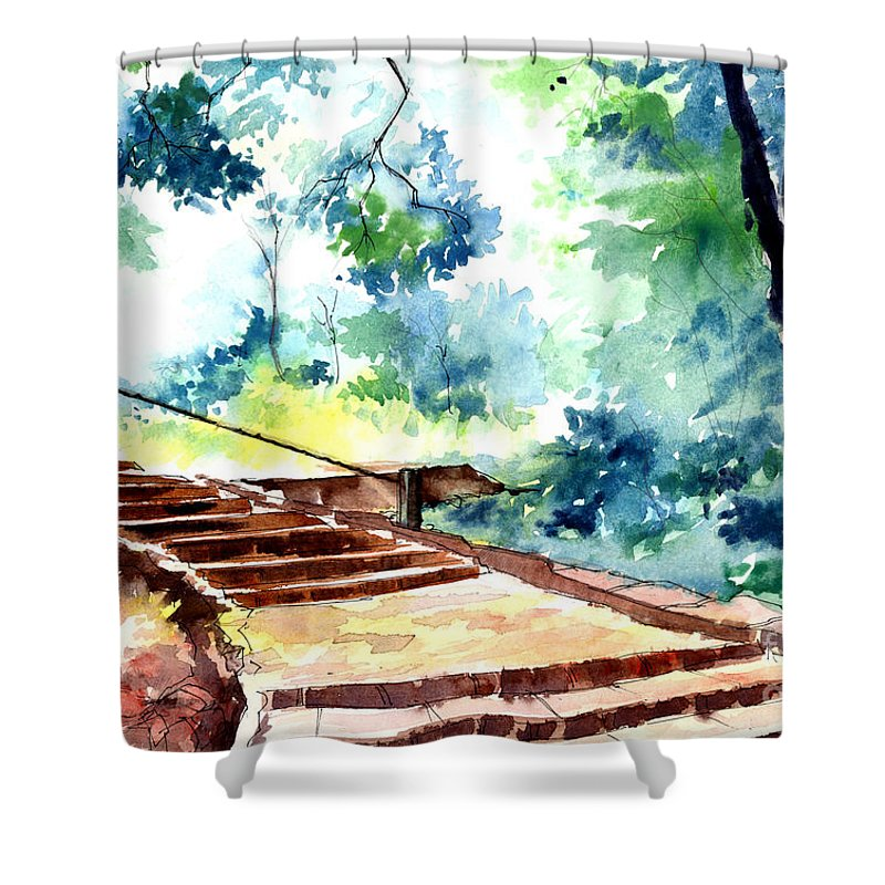 Landscape Shower Curtain featuring the painting Steps To Eternity by Anil Nene