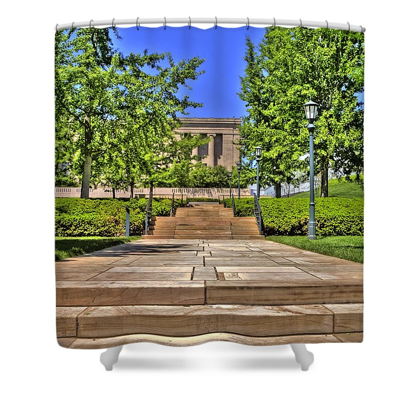 Hdr Shower Curtain featuring the photograph Steps To The Nelson by Timothy Bischoff