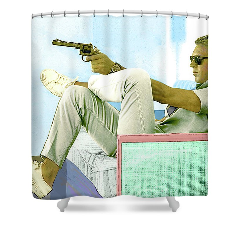 Steve Mcqueen Shower Curtain featuring the mixed media Steve McQueen, Colt revolver, Palm Springs, CA by Thomas Pollart