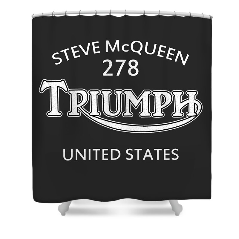 Isdt 1964 Shower Curtain featuring the photograph Steve Mcqueen Isdt Triumph by Mark Rogan