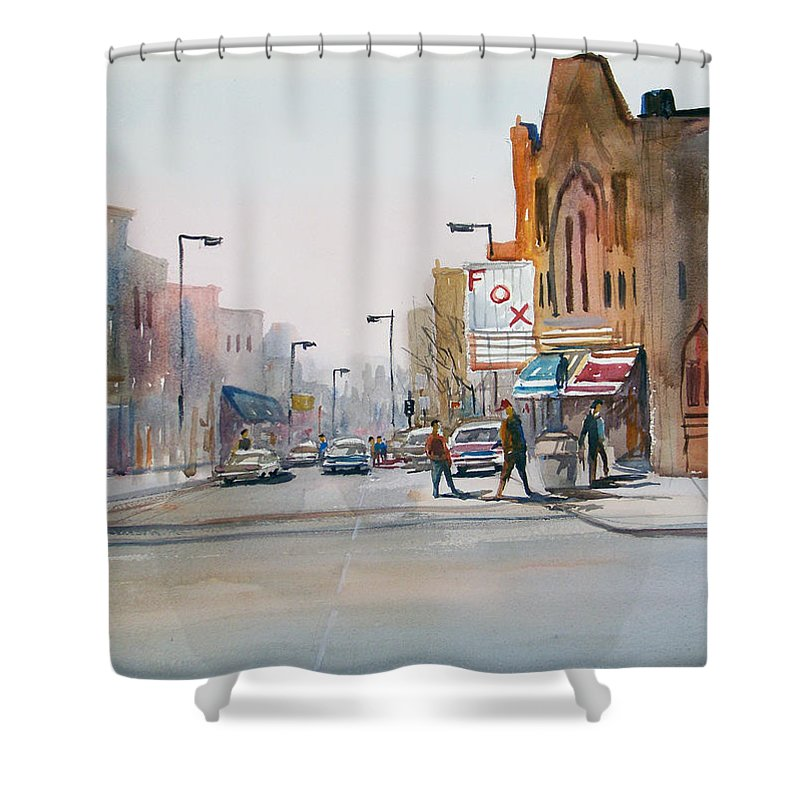 Watercolor Shower Curtain featuring the painting Steven's Point - Downtown by Ryan Radke