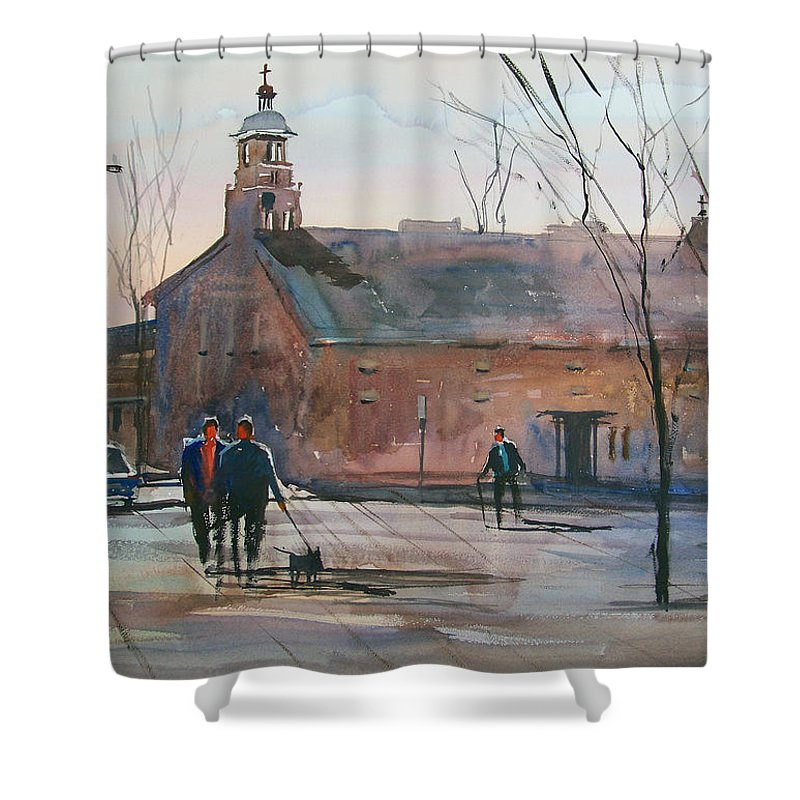 Street Scene Shower Curtain featuring the painting Steven's Point Church by Ryan Radke