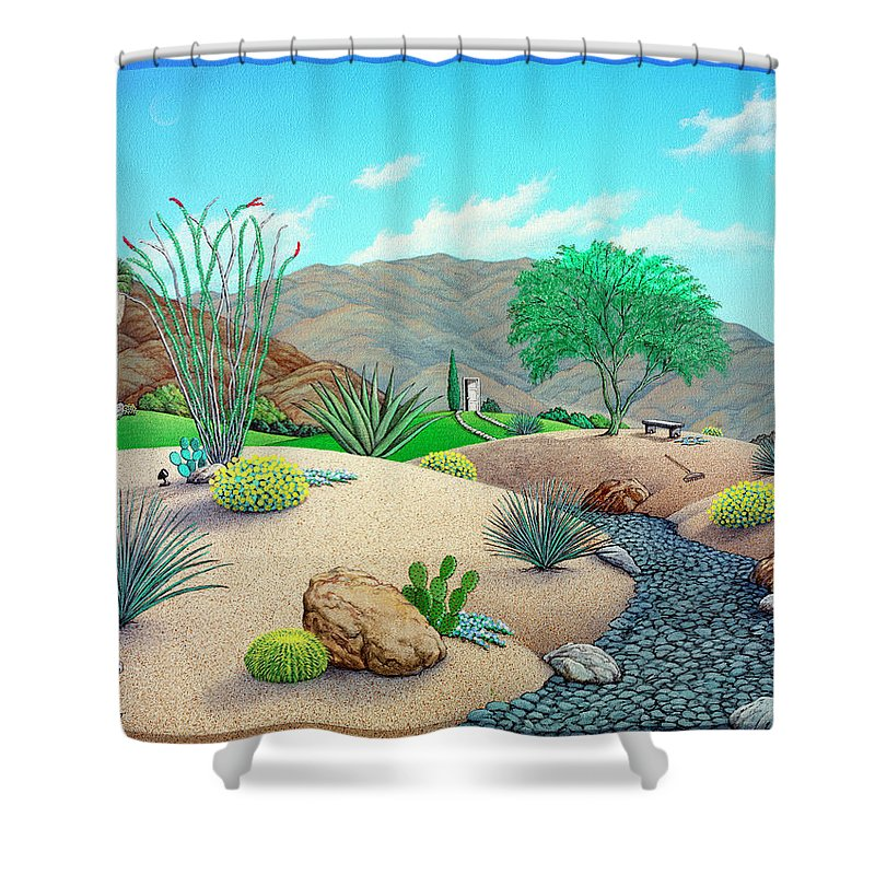 Landscape Shower Curtain featuring the painting Steve's Yard by Snake Jagger