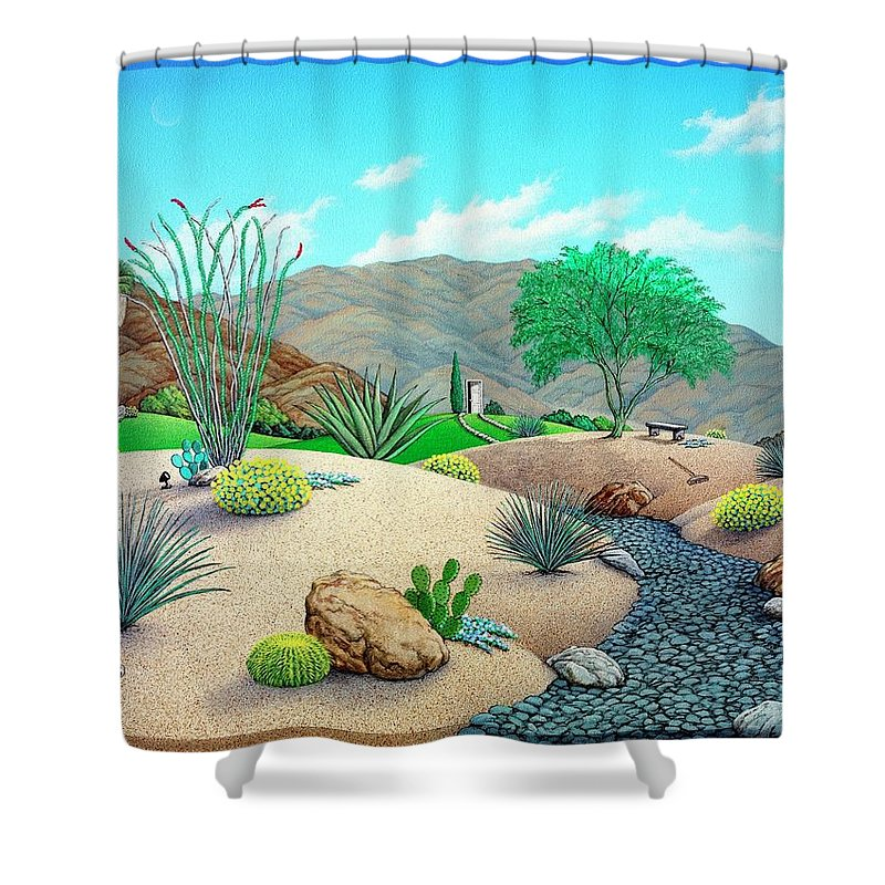 Desert Shower Curtain featuring the painting Steves Yard by Snake Jagger