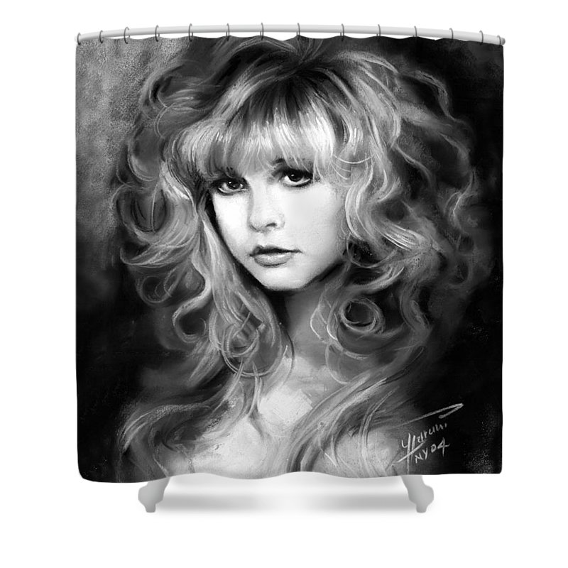 Stevie Nicks Shower Curtain featuring the drawing Stevie Nicks by Ylli Haruni