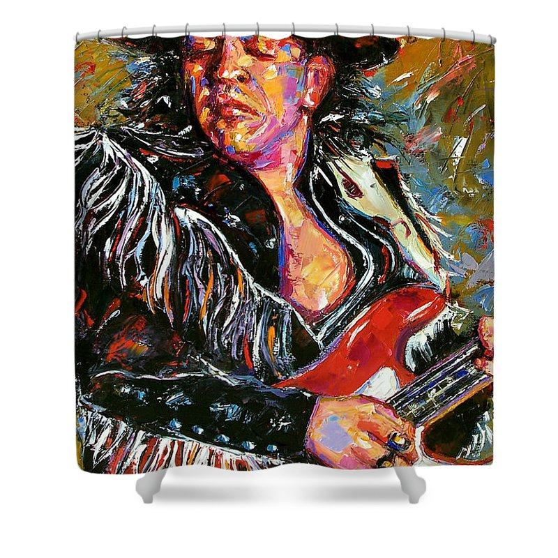 Stevie Shower Curtain featuring the painting Stevie Ray Red Guitar by Debra Hurd
