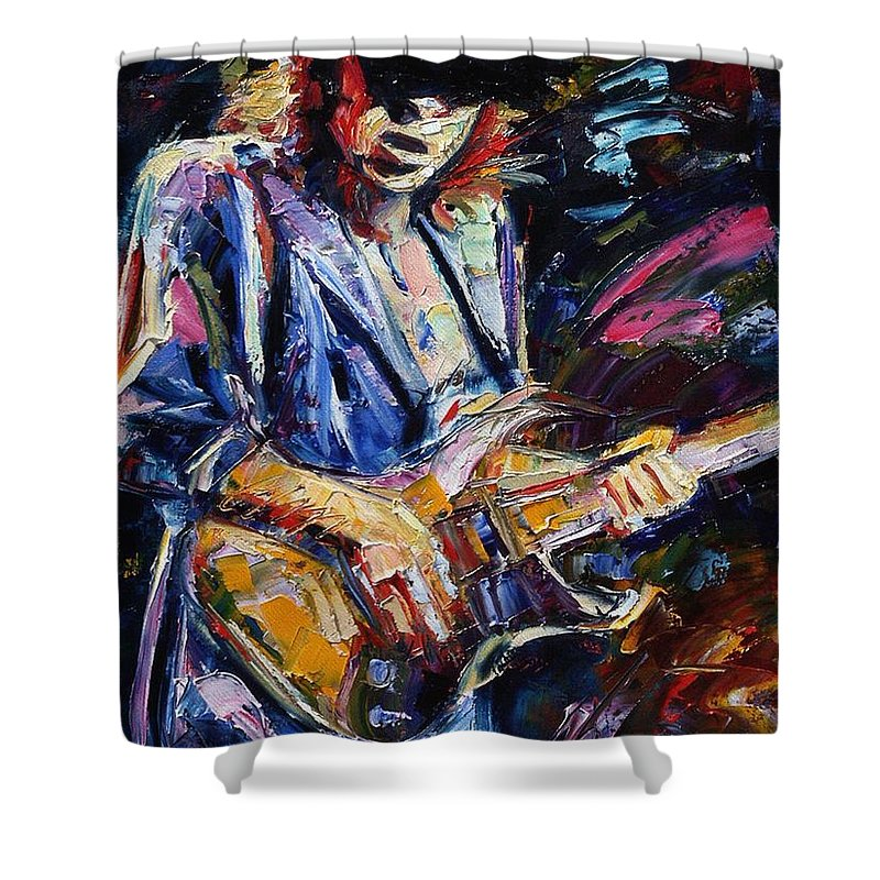Stevie Ray Vaughan Painting Shower Curtain featuring the painting Stevie Ray Vaughan by Debra Hurd