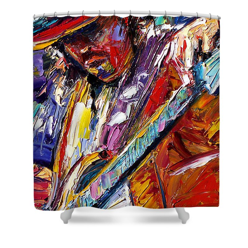 Rock Shower Curtain featuring the painting Stevie Ray Vaughan Number One by Debra Hurd