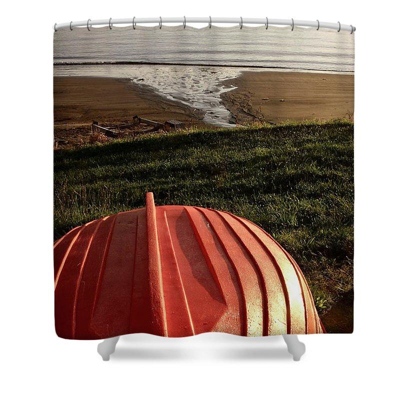 Red Boat Shower Curtain featuring the digital art Stewart Island Half Moon Bay New Zealand by Mark Duffy