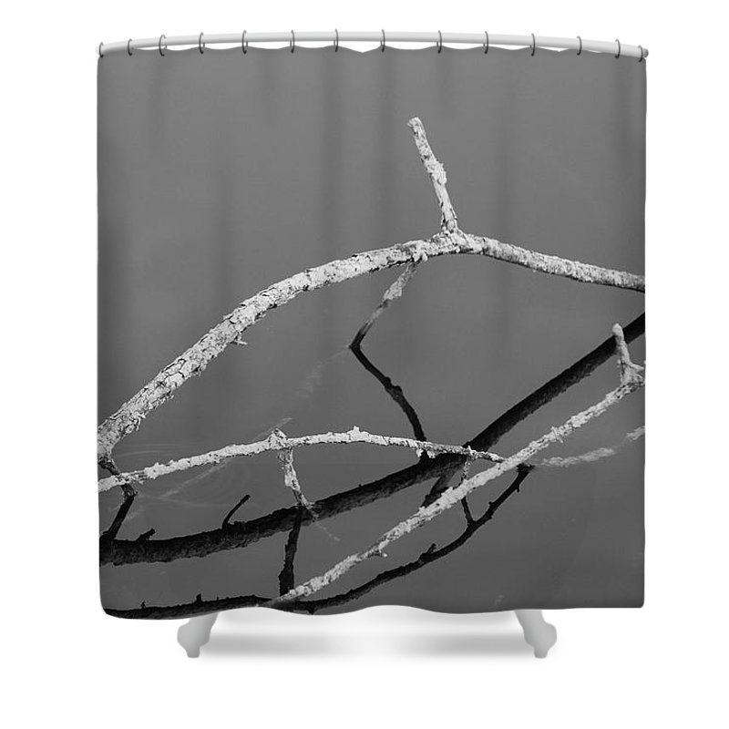 Black And White Shower Curtain featuring the photograph Stick Bridge by Rob Hans