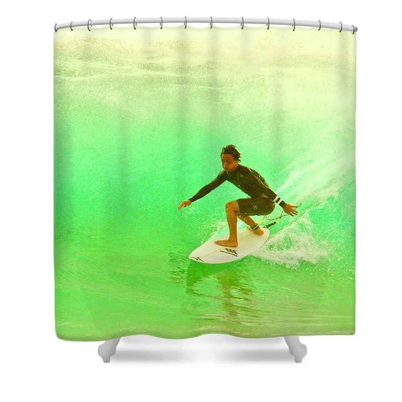 Surf Shower Curtain featuring the photograph Stick It by Mike Judice