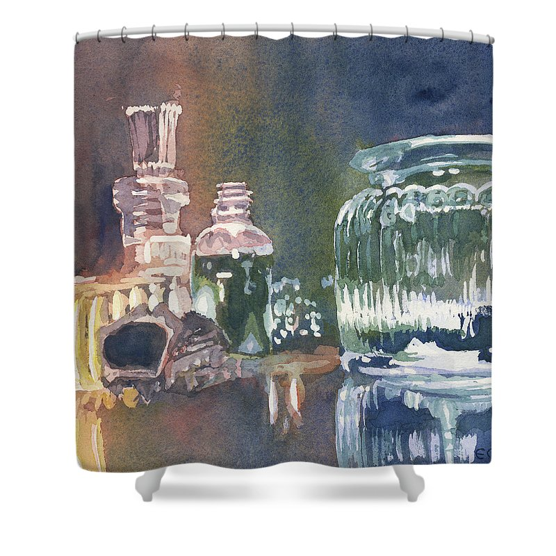 Pouring Shower Curtain featuring the painting Still Glass Pour by Edward Morden