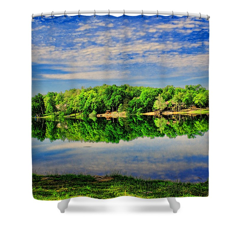 Landscape Shower Curtain featuring the photograph Still Lake by Rick Friedle