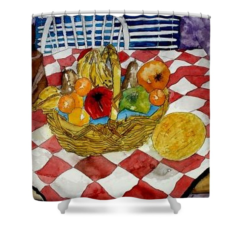 Still Life Watercolor Shower Curtain featuring the painting Still Life Art Fruit Basket 3 by Derek Mccrea