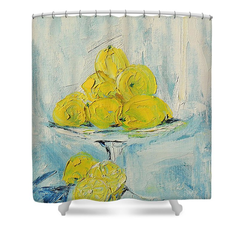 Oil Shower Curtain featuring the painting Still Life - Lemons by Shirley Heyn