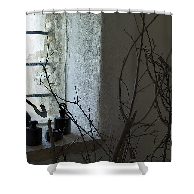 Photography Shower Curtain featuring the photograph Still Life Of The Window Of A Villa by Todd Gipstein
