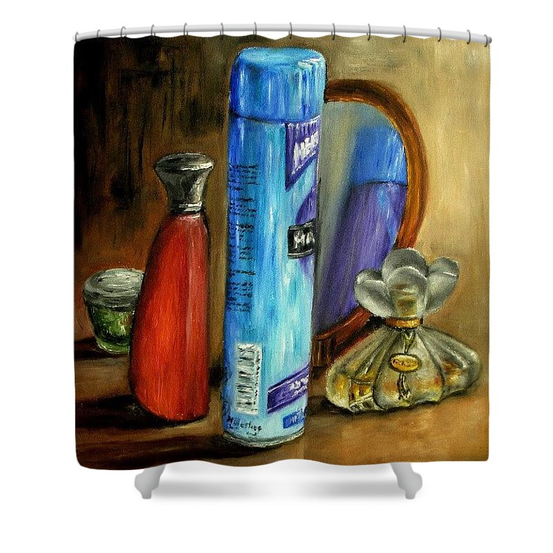 Still Life Shower Curtain featuring the painting Still Life Oil Painting by Natalja Picugina