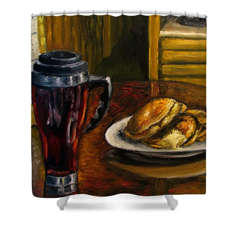 Still Life Painting Shower Curtain featuring the painting Still Life Pancakes And Coffee Painting by Natalja Picugina