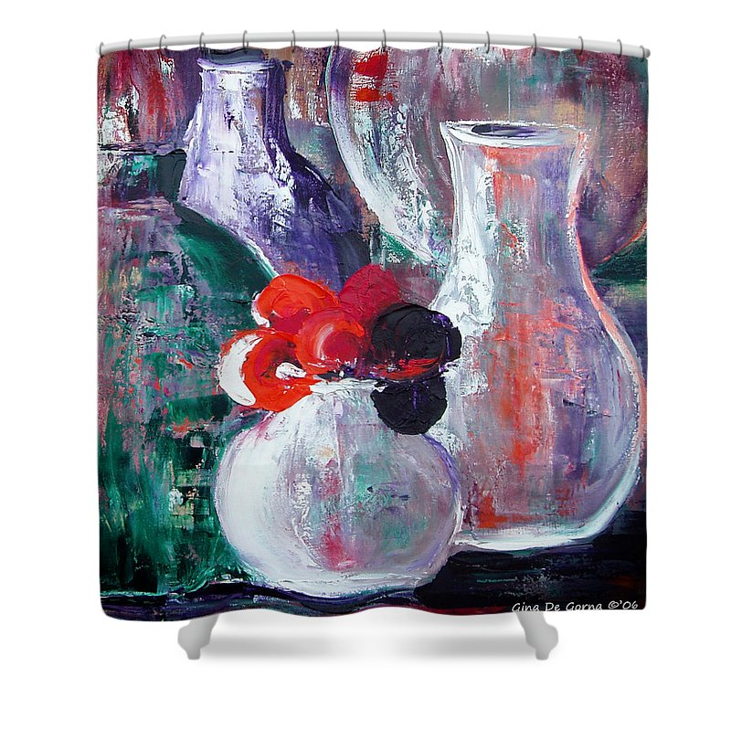 Still Life Shower Curtain featuring the painting Still Life With A Red Flower by Gina De Gorna