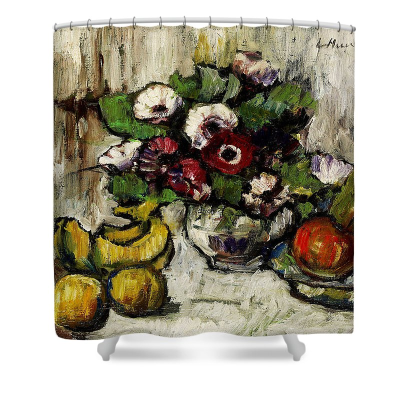 George Leslie Hunter Shower Curtain featuring the painting Still Life With Anemones And Fruit by George Leslie Hunter