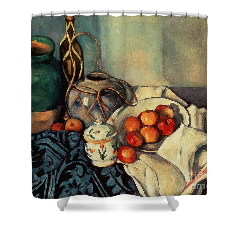 Still Shower Curtain featuring the painting Still Life With Apples by Paul Cezanne