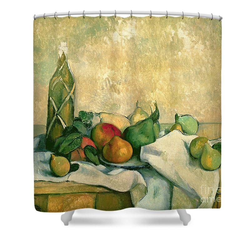 Still Shower Curtain featuring the painting Still Life With Bottle Of Liqueur by Paul Cezanne