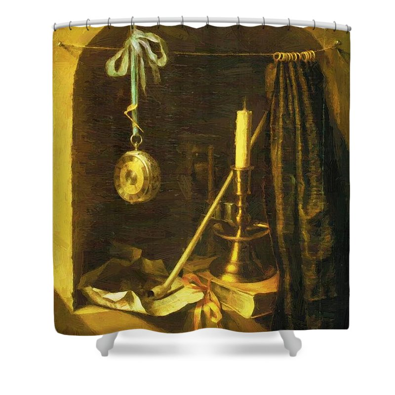 Still Shower Curtain featuring the painting Still Life With Candle by Dou Gerrit