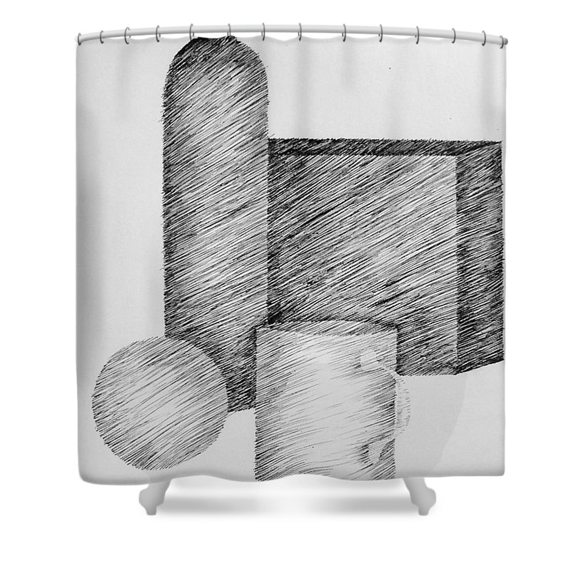 Still Life Shower Curtain featuring the drawing Still Life With Cup Bottle And Shapes by Michelle Calkins