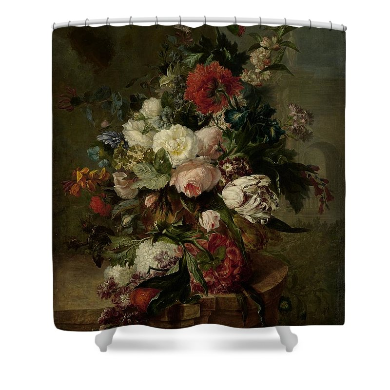 Flowers Shower Curtain featuring the painting Still Life With Flowers, 1789 by Harmanus Uppink