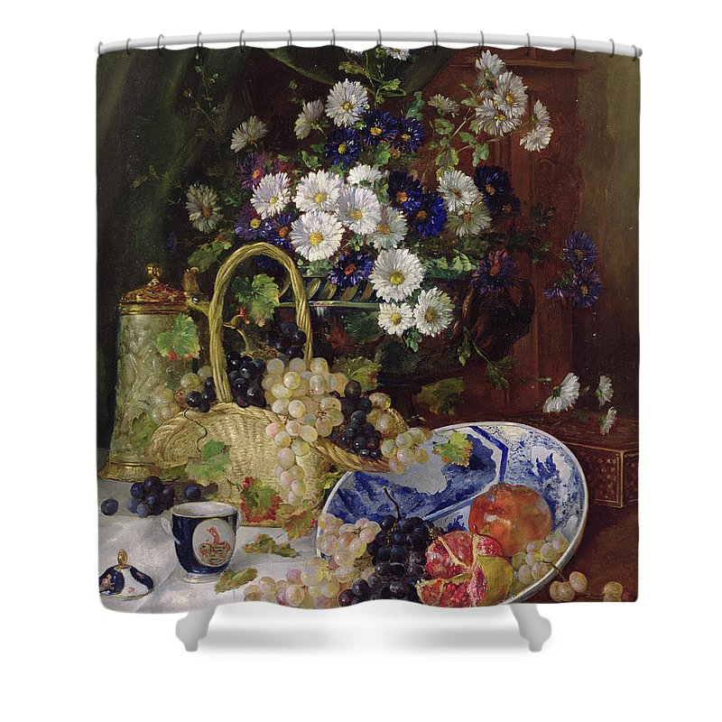Marguerite Shower Curtain featuring the painting Still Life With Flowers And Fruit by Eugene Henri Cauchois