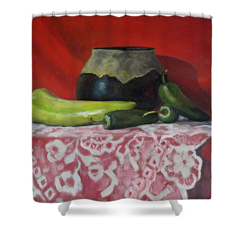 Realism Shower Curtain featuring the painting Still Life With Green Peppers by Keith Burgess