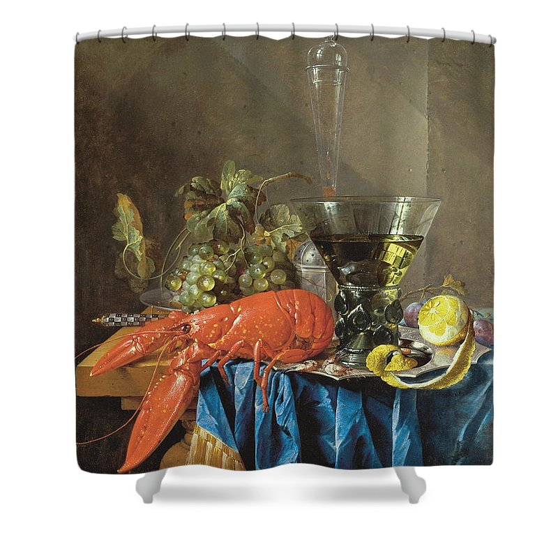 Lobster Shower Curtain featuring the painting Still Life With Lobster 1655 by Cornelis De Heem