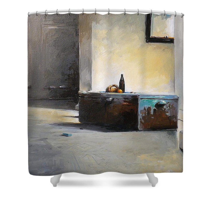 Still Life Shower Curtain featuring the painting Still Life With Mirror by Tony Belobrajdic